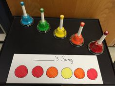 """pitches sounded different and they went from high to low or low to high. my song example on the board and performed it. I made sure that my example did not use all of the colors, it had repeated pitches, and ended on something that I thought sounded """"finished."""" they understood that some colors sounded finished or that the song was over. (I gave them another made up example and ended on orange (re) and so many wanted me to finish on red (do.) I gave them all their sheets of paper at the same…"""
