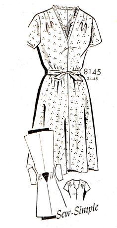 1940s Dress Pattern Patt O Rama 8145 V Neck Flared by paneenjerez, $16.00
