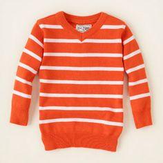 striped v-neck sweater