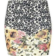 cream leopard and flower print mini skirt - mini skirts - skirts - women - River Island