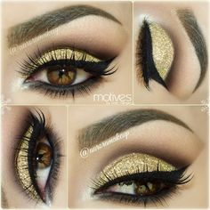 Makeup for stage: Gold Glitter Smokey Eye For brown eyes Smokey Eye For Brown Eyes, Makeup For Brown Eyes, Smokey Eye Makeup, Make Up Gold, Eye Make Up, Love Makeup, Makeup Art, Makeup Ideas, Amazing Makeup