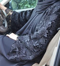 Fancy Lace Embroidered Abaya Designs Latest Collection consists of stylish & trendy abayas in casual, formal, fishtail styles, front open gowns, Hijab Fashion 2016, Abaya Fashion, Modest Fashion, Womens Fashion, Abaya Chic, Hijab Chic, Abaya Style, Islamic Fashion, Muslim Fashion