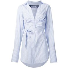 Jacquemus Wrap Pinstriped Shirt Dress ($495) ❤ liked on Polyvore featuring dresses, blue, blue wrap dress, blue cotton dress, cotton dresses, t-shirt dresses and pinstripe dress