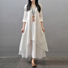 White Long Sleeve Maxi Linen Dress
