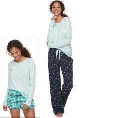 Juniors' SO® Pajamas: Knit Pants, Shorts & Top 3-Piece PJ Set, Teens, Size: Xs Short, Blue