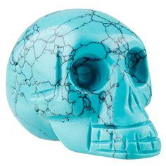 Sculpture: Rockcloud Healing Crystal Stone Human Reiki Skull Figurine Statue Sculptures Green Howlite Turquoise