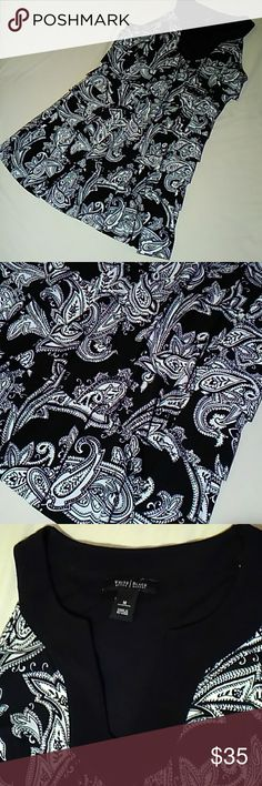 White House Black Market tiered sleeveless dress Black and white Paisley design. Size medium. White House Black Market Dresses Midi