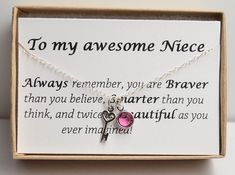 Personlized Birthstone Necklace Gift For Niece From Aunt Jewelry Birthday Back To School Sweet 16