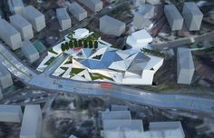 Architectural design of the Seoul Art Center in North Korea. A great interpretation of modern design reflecting wealth and development of Seoul Architecture Aerial View, South Korea, Seoul, Architects, Architecture Design, Modern Design, Building, Projects, Art