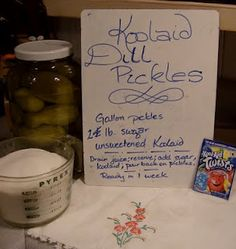 Mayree's Deep South Cakery with a Side of Life: Koolaid Dill Pickles or Dilled K. - Mayree's Deep South Cakery with a Side of Life: Koolaid Dill Pickles or Dilled Koolaid Pickles or - Kool Aid Pickles Recipe, Koolaid Pickles, Crispy Pickles Recipe, Baked Pickles, Sweet Pickles, Canning Recipes, My Recipes, Asian Recipes, Recipies