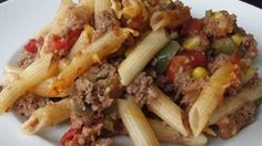 All the components of sloppy joes are mixed with penne pasta and Colby-Jack cheese creating a comfort food casserole for cold days.
