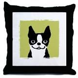 Boston Terrier throw pillow with a big smile on his face.
