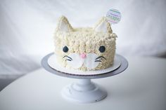 white buttercream cat cake