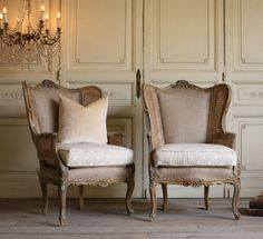 Pair Louis XV French Style Wing Bergeres Cane