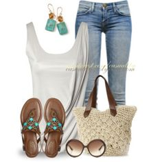 Grey/silver tank, capris, sandals. Spring, Summer, Fall