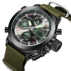 Tamlee Waterproof Men Quartz Analog Digital Military Wrist Watch Canvas N NEW