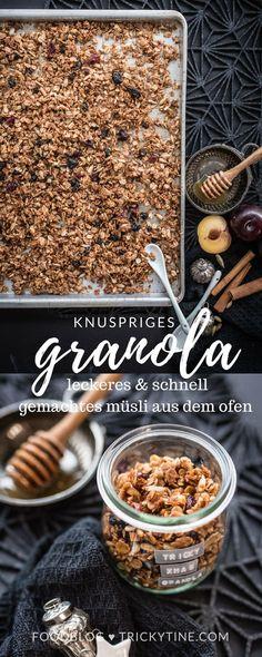 granola, knusprig gebackenes und köstliches müsli aus dem ofen ♥ trickytine.com #granola #breakfast #christmas #food #blog #müsli