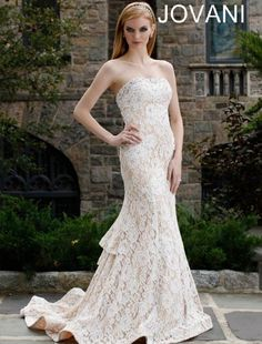 Strapless Lace Trumpet Wedding Gown $359.99 Lace Wedding Dresses