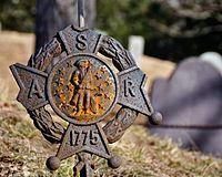 """Sons of the American Revolution grave marker, Old Ship Burying Ground, Hingham, Massachusetts"""