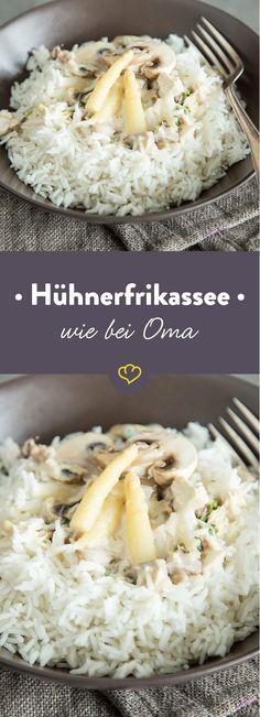 Omas ist die Beste. Ihr Hühnerfrikassee ist das Beste. Ganz traditionell mit Champignons und Spargel zubereitet. Und dabei extra zart.