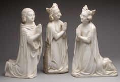King, from a group of Donor Figures including a King, Queen, and Prince;  Date: ca. 1350 Culture: French Medium: Marble, traces of paint & gilding Dimensions: Overall: 15 3/4 x 5 13/16 x 3 1/16 in. (40 x 14.7 x 7.8 cm) Classification: Sculpture-Stone Credit Line: Gift of J. Pierpont Morgan, 1917 Accession Number: 17.190.387 Description