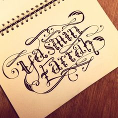 Typography illustration, black and white, tattoo style lettering, type hand rendered, by Yasmin Farrah Stopford.