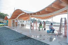 Workspace for fishery and resting place in Tsukihama, Miyatojima. Area of Building 72m2  Constructed 2014  Design: Kazuyo Sejima + Ryue Nishizawa / SANAA Structure Design: SAP / Sasaki and Partners Constructor: Shelter