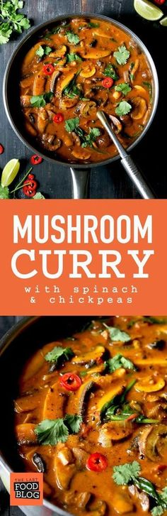 Mushroom Curry with Spinach & Chickpeas Recipe - Grace Food Veggie Dishes, Veggie Recipes, Indian Food Recipes, Asian Recipes, Whole Food Recipes, Vegetarian Recipes, Cooking Recipes, Healthy Recipes, Vegetarian Options