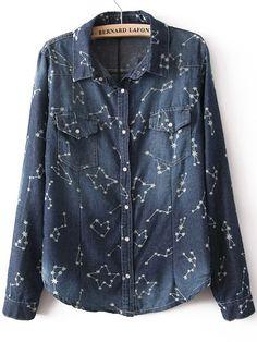 Dark Blue Long Sleeve Constellation Print Denim Blouse - Sheinside.com