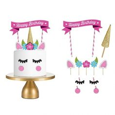 FISHPOND GbaoY Handmade Unicorn Birthday Cake Topper Decoration, Unicorn Party Cake Toppers for Wedding and Birthday Party Decoration (Style1)