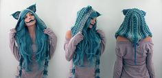 Knitted my newest hood with a chesire cat theme and naturally had to cosplay him full hood here Cheshire Cat Details Costume Chat, Cat Costumes, Cosplay Costumes, Cheshire Cat Cosplay, Costume Halloween, Gato Alice, Scoodie, Chesire Cat, Cosplay Diy