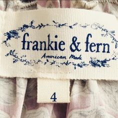 FRANKIE AND FERN Frankie and Fern is a brand after my own heart. I was delighted to help develop a strong logo for this luxury kid's apparel. My daughter loves her Frankie and Fern! - Molly Hatch   Check out their adorable clothing here: http://frankie-fern.myshopify.com