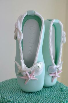 Ballet pointe shoes cake topper - made from fondant & gum-tex