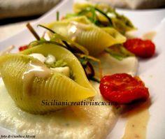 Conchiglioni con broccoli siciliani, crema di bufala e salsa di acciughe