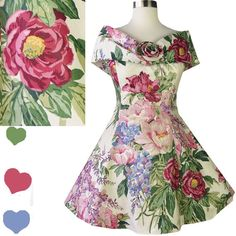 Vintage 80s 90s Dress // Garden Party Floral Full by pinupdresses