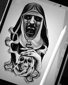 Nature tattoo sleeve black style 54 Ideas for 2019 Satanic Tattoos, Evil Tattoos, Scary Tattoos, Tattoos For Guys, Creepy Drawings, Dark Art Drawings, Badass Drawings, Creepy Art, Nature Tattoo Sleeve
