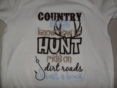 Funny Baby Onesie Boy or Girl 0-3 months to 24 months Embroidered Onesie Country Boys Know How To Hunt Shower Gift SOT on Etsy, $12.00