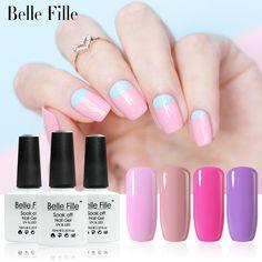 Belle Fille UV Nail Gel Polish Rose Gel UV LED Pink Purple Gel Nail Lacquer Soak Off Varnish Shining Bling fingernail Polish #Affiliate