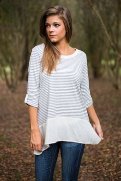 Button Back Top, Grey