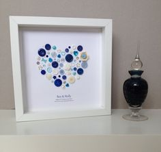 Sapphire Wedding Anniversary Button Art - 45th Wedding Anniversary - Anniversary Gift - Happy Couple Art by ButtonArtbySophie on Etsy