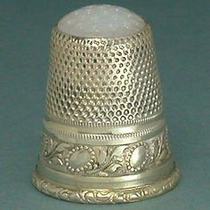 Vintage Stone Top Gilded Sterling Silver Thimble * Germany * Mid 20th Century
