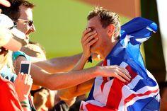 Dane Bird-Smith of Australia celebrates winning bronze in the Men's 20km Race Walk on Day 7 of the Rio 2016 Olympic Games at Pontal on August 12, 2016 in Rio de Janeiro, Brazil.