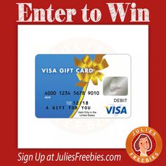Facebook Twitter PinterestEnter to win a $1,000 Visa Gift Card!Ends on April 30, 2016.Note: If you get page not found on this one, try from either a computer or use your phone browser in desktop mode. ENTER HERE