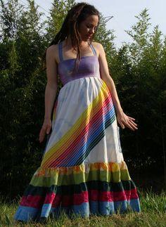 purple rainbow hippie patchwork corset dress sundress with pockets vintage 1970s rainbow print repurposed