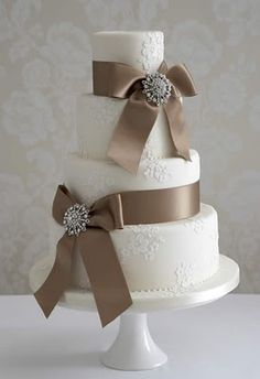 Tan Ribbon Cake