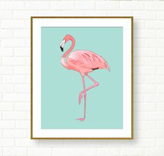 Flamingo Print, Girl Nursery, INSTANT DOWNLOAD, Printable Flamingo Art, Flamingo Poster, Pink Aqua, Tropical, Vanity Decor, Office, Kids Art by PeachAndGold on Etsy https://www.etsy.com/listing/238202776/flamingo-print-girl-nursery-instant