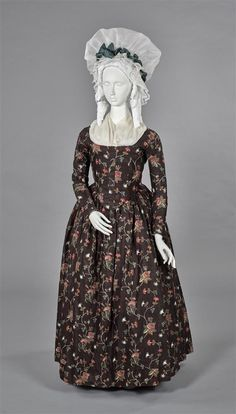 Dress, c. 1785. Block printed and painted lazed cotton with linen-lined bodice. 1976.76