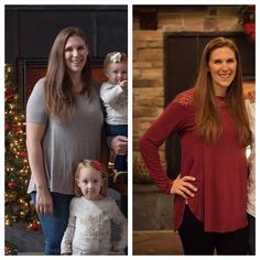 Actually being excited to send out our Christmas cards this year! The left pic was last year, right was last week. I didn't feel the need to hide behind my daughter this year.... Rebecca P. www.TrimHealthyMama.com