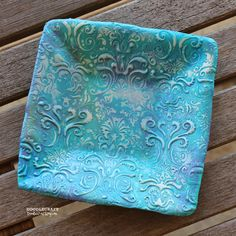 Back in April, I made some beautiful Damask Pendants ! And I love the technique so much I w. Polymer Clay Ornaments, Polymer Clay Sculptures, Polymer Clay Projects, Polymer Clay Art, Polymer Clay Jewelry, Clay Bowl, Play Clay, Jewelry Dish, Delicate Jewelry