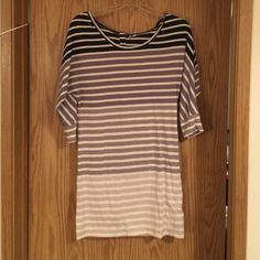 Rip Curl Short Dress or Long Shirt 3/4 sleeve Dress or Shirt. Black and cream stripes at top down to light grey and cream on the bottom. Little wear that shows on bottom half of you look real close please see pic. I wear small fits me fine S,M, Rip Curl Dresses Mini